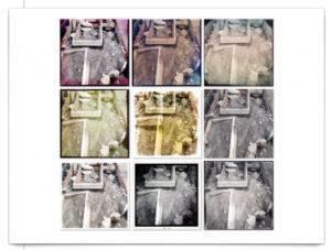 Quadratische, serielle Collage mit verschiedenen Instanzen einer Steinstruktur.