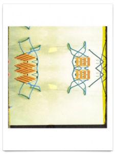 Abstraktes Bild von Latten-Biergartenstühlen, grafisch