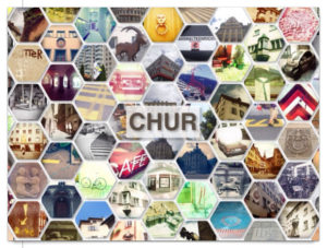 Viele wabenförmige bunte Bilder mit Details aus Chur. In der Mitte der Postkarte der Schriftzug Chur