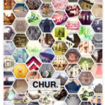 Viele wabenförmige Bilder mit Detailansichten aus Chur. Schriftzug Chur dekoriert die Postkarte.