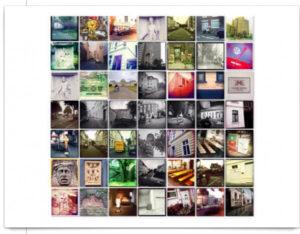 Bildcollage mit 49 quadratischen Bildern aus Bonn,verfremdete Straßenschnappschüsse.