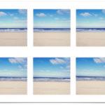 Sechs zartblaue quadratische Bilder des Nordseestrands bei der Rheinmündung in Hoek van Holland