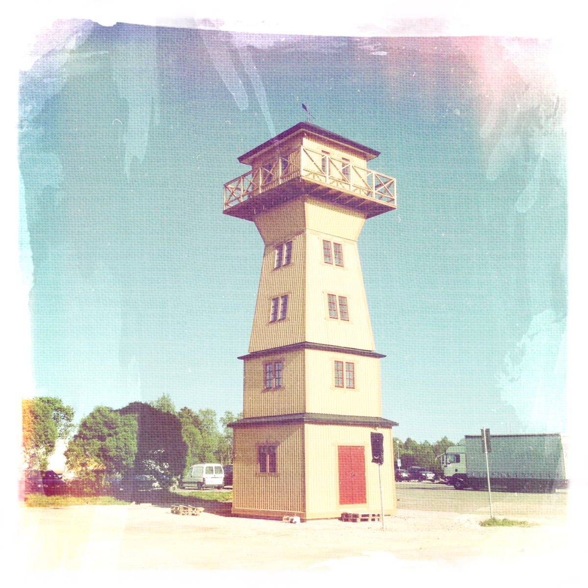 Square wooden lighthouse like tower