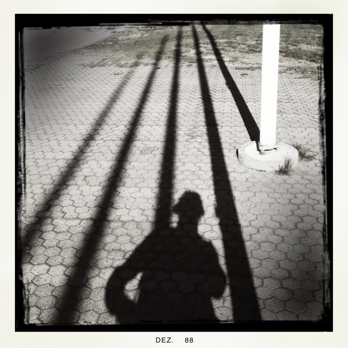 Shadow of a person behind vertical lines