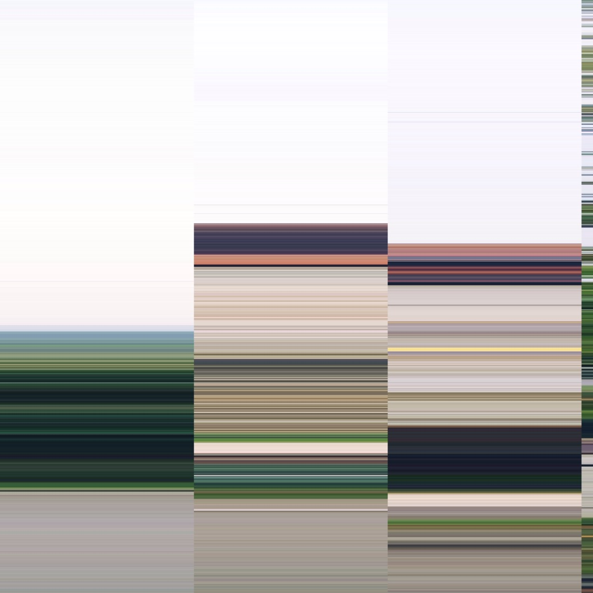 Some horizontal lines in green and brown autumn colours, arraged in three divisions.